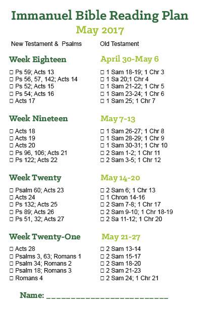 May Reading Plan 2017